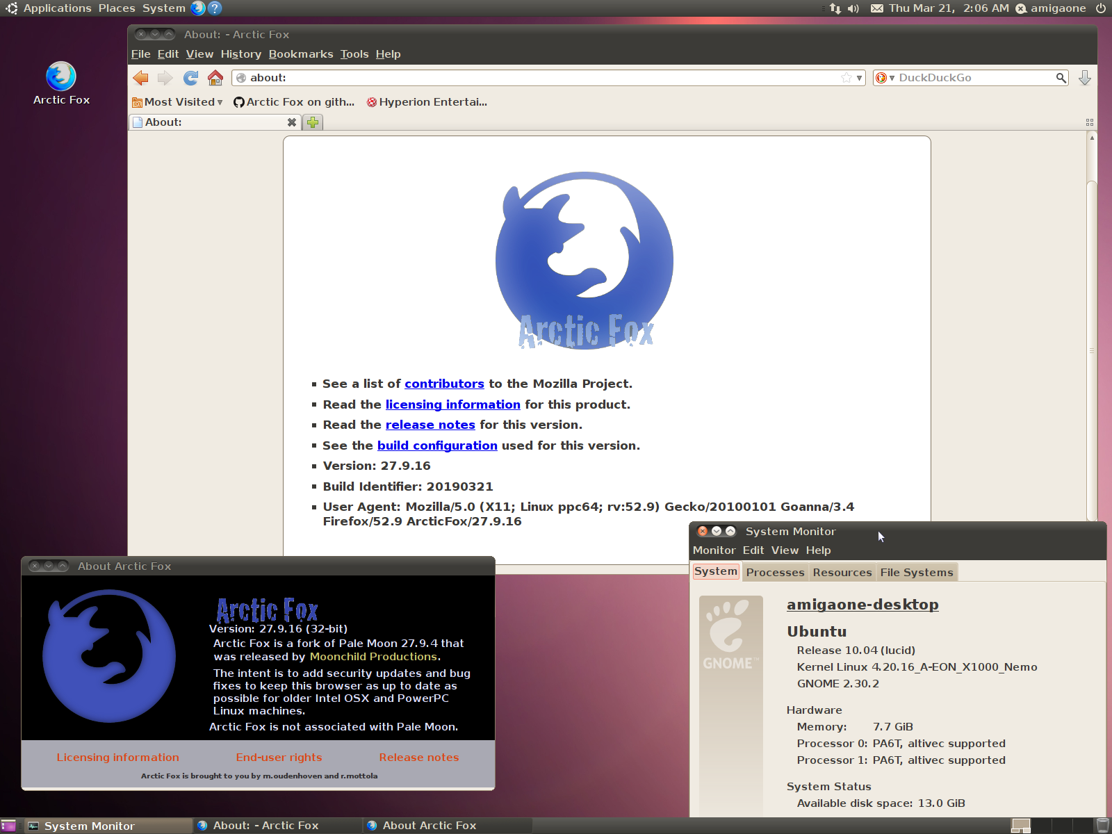 PPC] Arctic Fox, a new web browser is available for Linux PPC