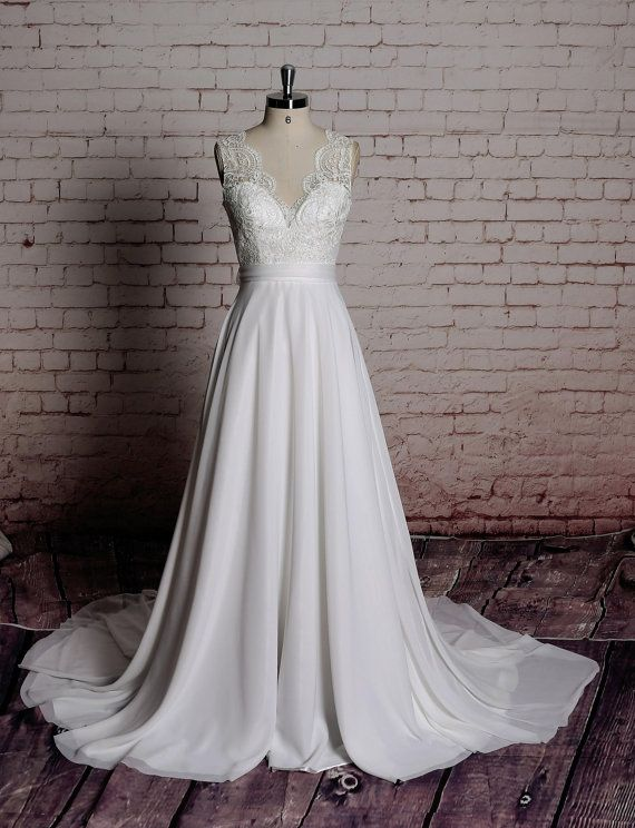 Simple A-line Wedding Gown Chiffon Bridal Gown With V-Back Cut ...