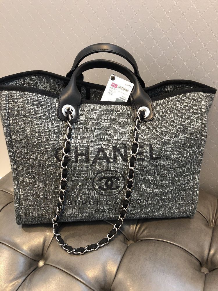 b575eb3b9d9 2018 Chanel Deauville Large Charcoal W receipt Brand New  CHANEL   ShoulderBag
