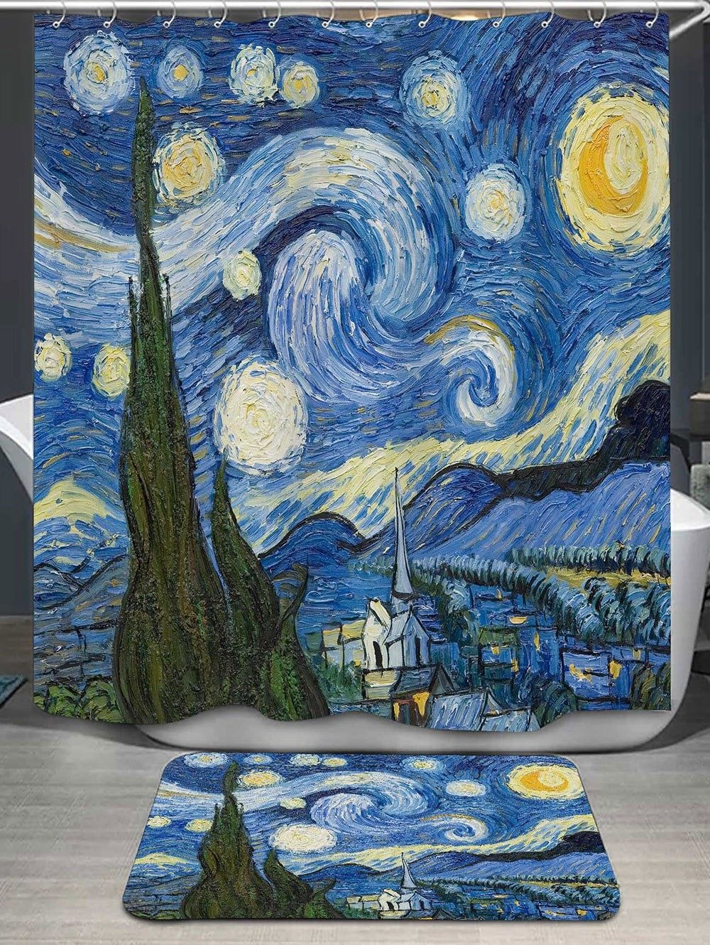 Sky Oil Painting Shower Curtain And Bath Rug Gogh The Starry