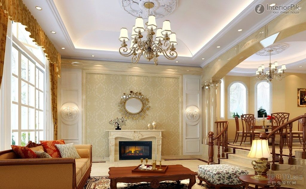 european style living room with modern ceiling design ideas on a ...