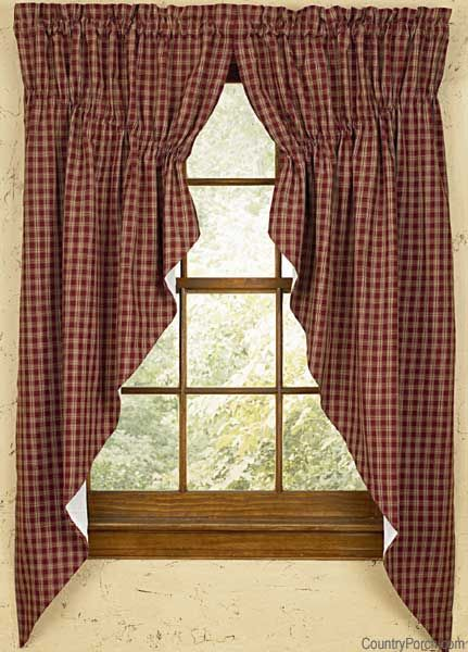 Wine Sturbridge Lined Gathered Window Curtain Swags