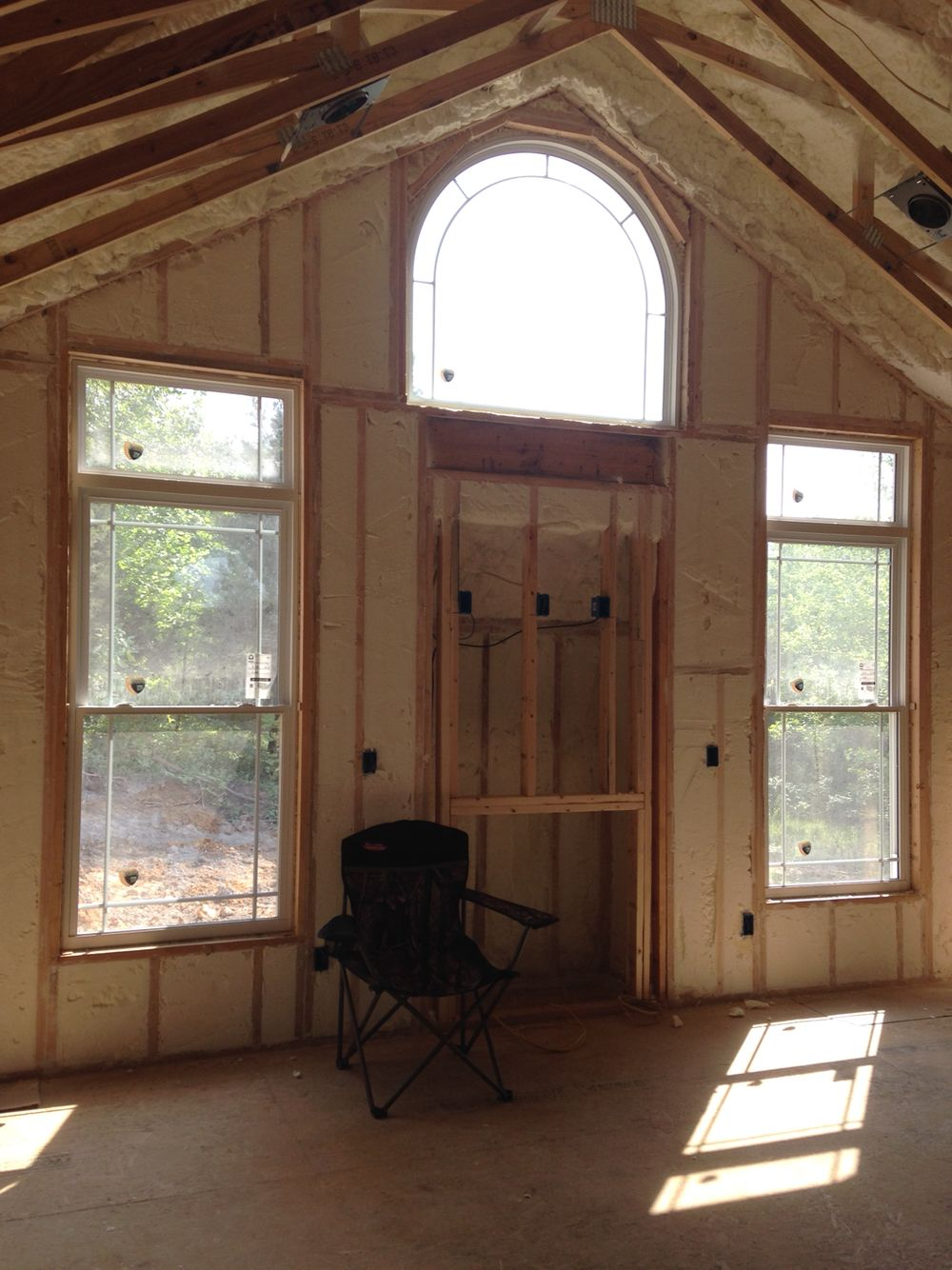 Spray Foam Insulation In Living Room Vaulted Ceiling Custom Craftsman Home Craftsman Style Home Dream House House