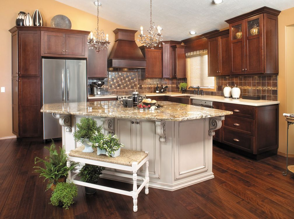 Kitchen light cherry cabinets painted island for Dark kitchen cabinets with light island