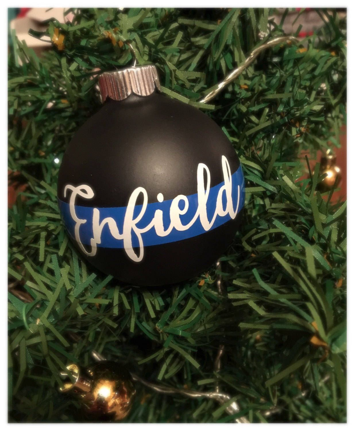 support your favorite law enforcement officer with this personalized thin blue line christmas ornament personalize with last name badge number - Police Officer Christmas Decorations