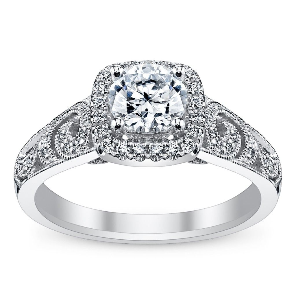So pretty!!! 14k white gold diamond engagement ring