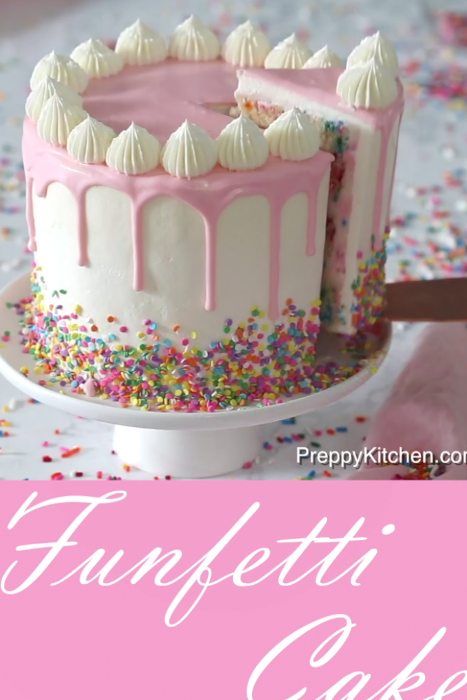How To Decorate The Perfect Funfetti Cake For A Birthday Party The Cake Is Easy To Bake With Moist Cake Layers Preppyk Cake Mix Cookies Cake Funfetti Cake