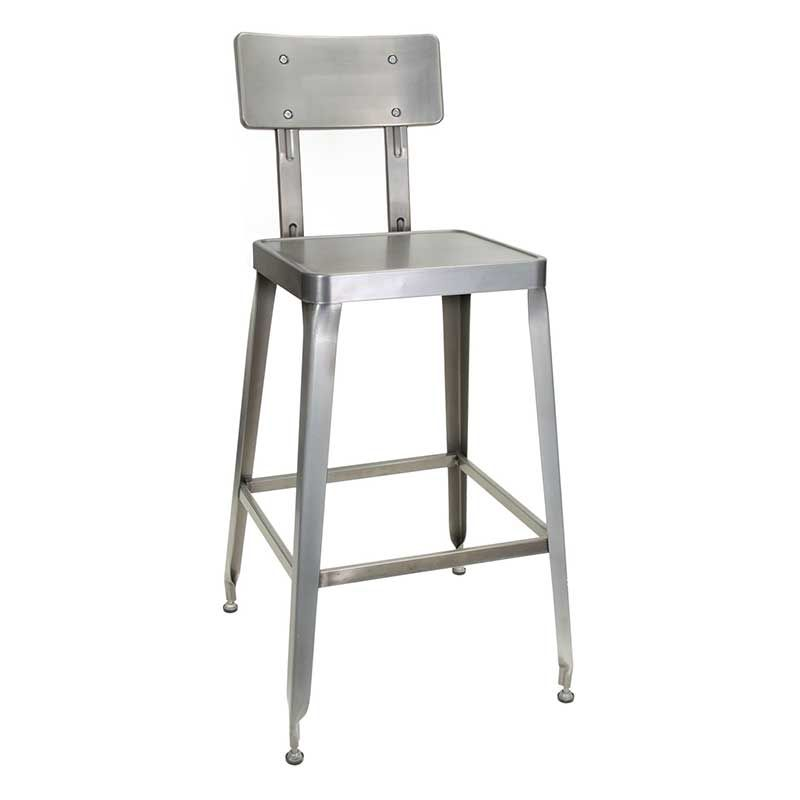 Simon Collection Clear Coat Steel Bar Stool With Optional Wood Or Vinyl Seat Steel Bar Stools Cafe Bar Stools Bar Stools