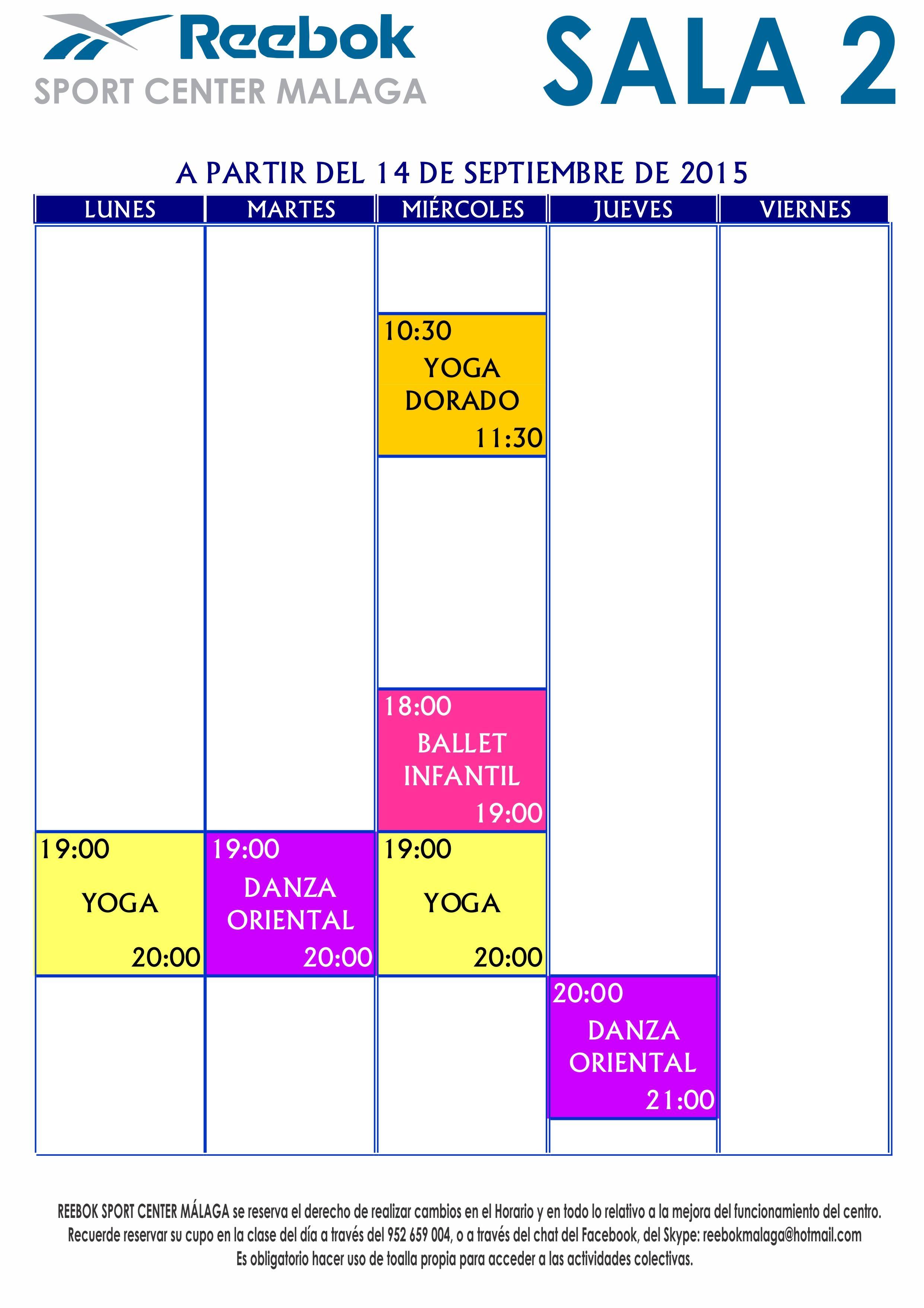 Horario de actividades colectivas en Sala 2, a partir del 14/Sep/2015. Más información en http://reebokmalaga.com/horarios