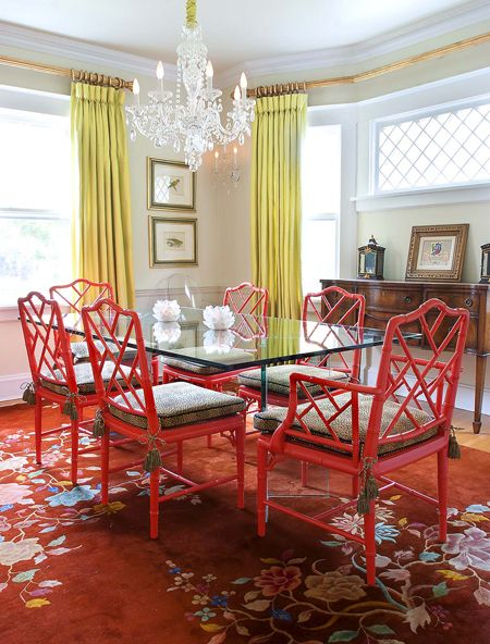 A Bold Dining Room Color Combination Of Green U0026 Yellow. #red #green #lime  #chandelier