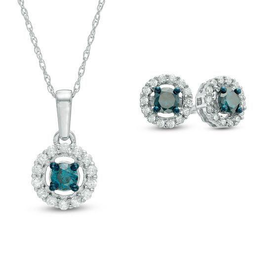 Zales 1/8 CT. T.w. Enhanced Blue and White Diamond Flower Drop Earrings in Sterling Silver on5ZAL