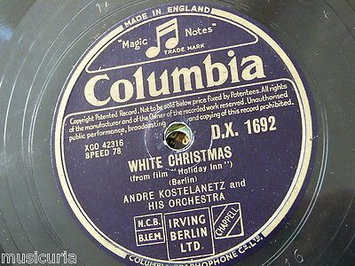 """78rpm 12"""" andre #kostelanetz white #christmas / irving #berlin waltz medley dx 16,  View more on the LINK: http://www.zeppy.io/product/gb/2/161668599565/"""