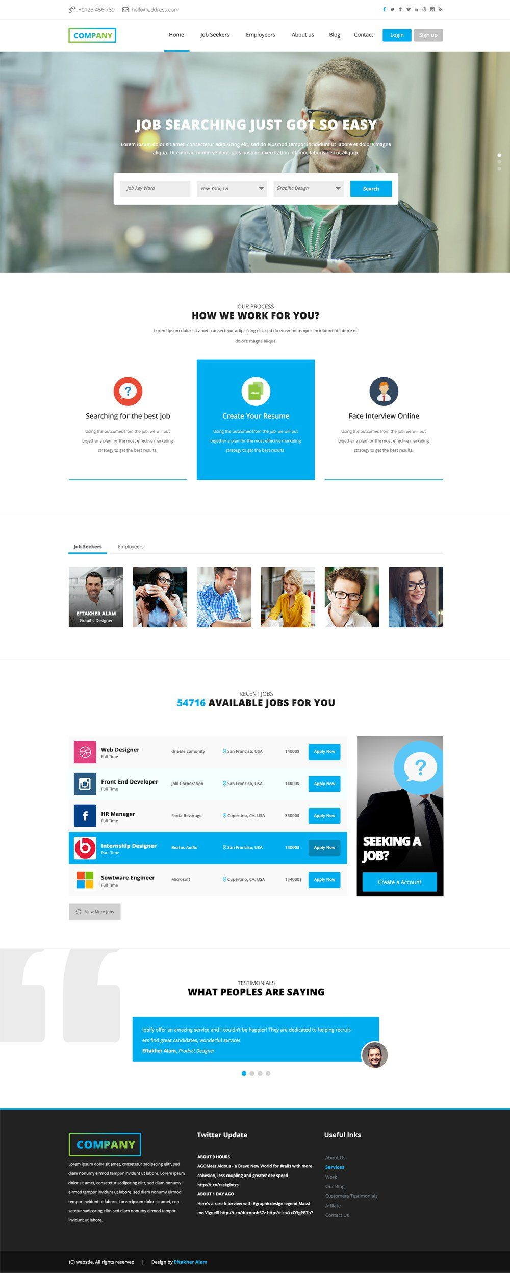 Website Templates Free Job Board Web Template Free Psd  Web Designtemplate  Pinterest