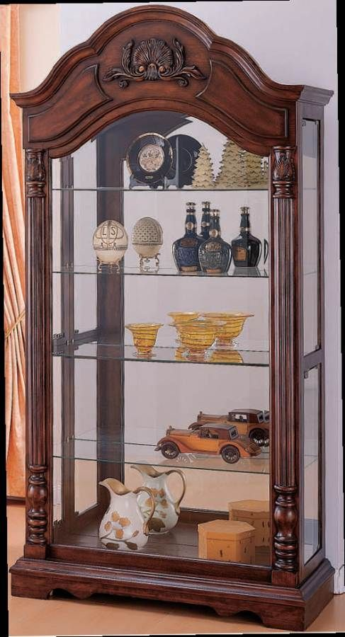 Acme Furniture Denton Cherry Curio Cabinet Glass Curio Cabinets Curio Cabinet Acme Furniture