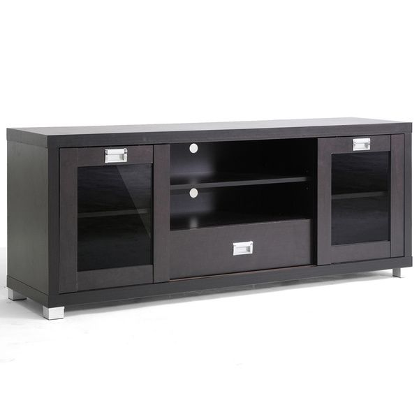 Baxton Studio 'Matlock' Modern Glass Door Dark Brown TV Stand - Overstock Shopping - Great Deals on Baxton Studio Entertainment Centers