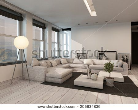 Modern Black And White Sitting Room Interior With Painted