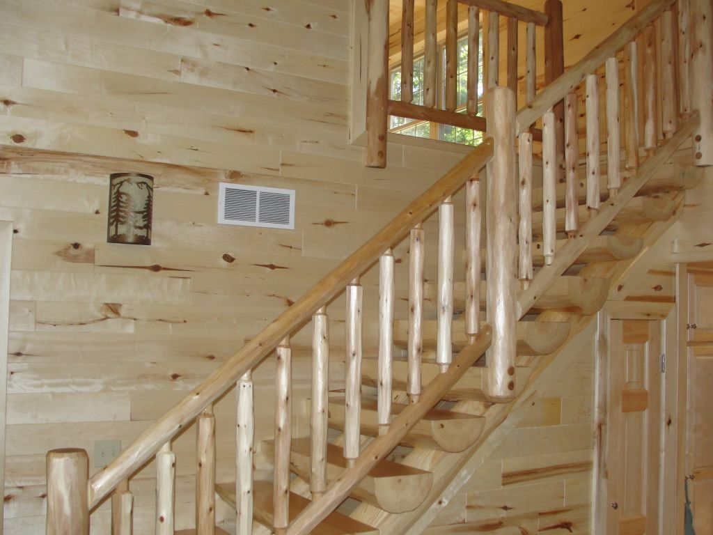 Best Cedar Railing And Pine Log Stairway Knotty Pine Paneling 400 x 300