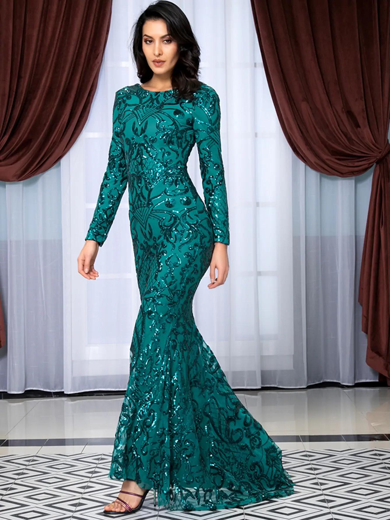 Emerald Green Long Sleeve Sequin Dress Long Sleeve Sequin Dress Sequin Dress With Sleeves Long Sequin Dress [ 1785 x 1340 Pixel ]