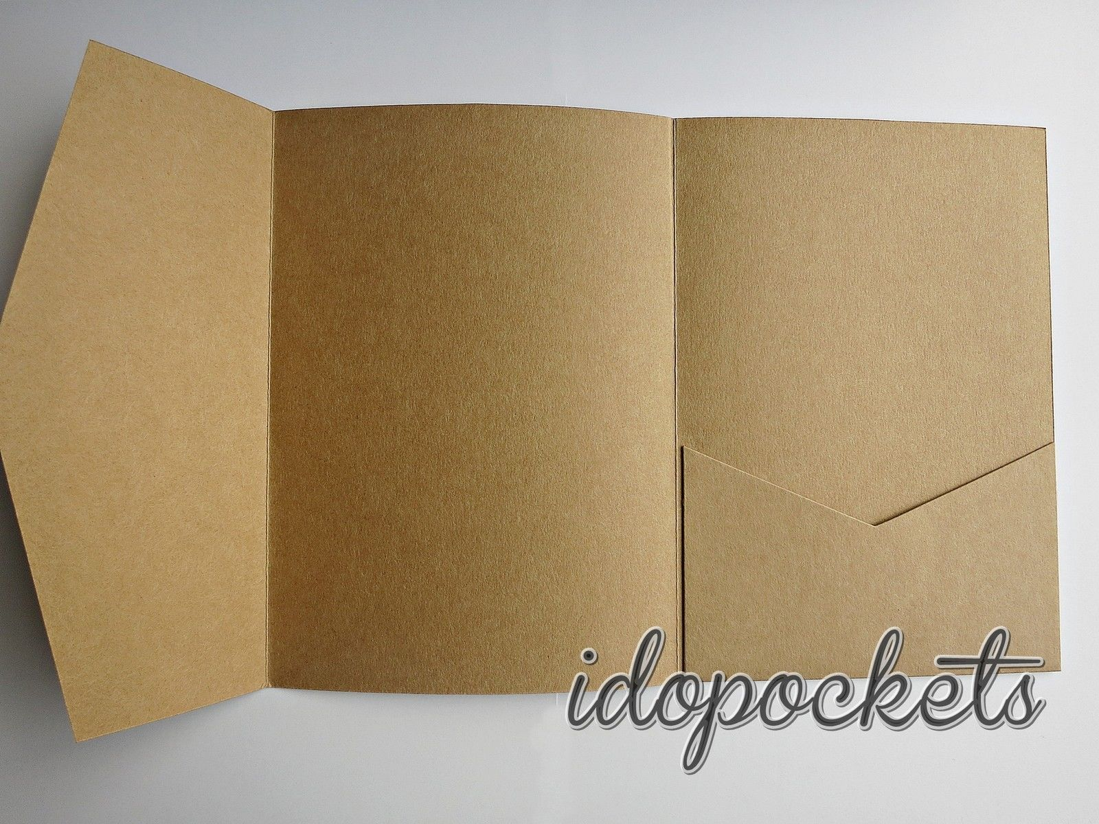 Kraft wedding invitations diy pocketfold envelopes box vintage brown ...