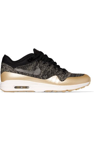 NIKE Air Max 1 Ultra 2.0 Metallic Leather-Trimmed Flyknit Sneakers. #nike #