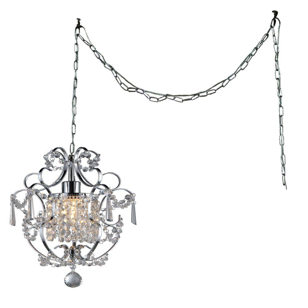 Cynthia 11 In Chrome Indoor Crystal Swag Chandelier With Shade Rl4025 Swag The Home Depot Geometric Pendant Swag Pendant Light Swag Chandelier