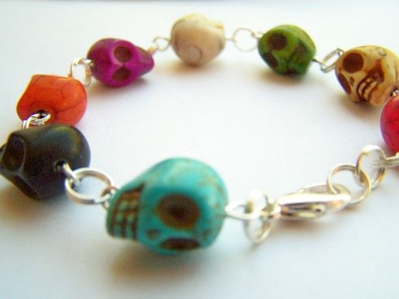 Loving this too - I've already got the earrings! Day of the Dead Skull Bracelet  Skeletopia  by polishedtwo on Etsy, $14.00