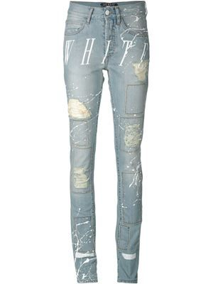 distressed print jeans