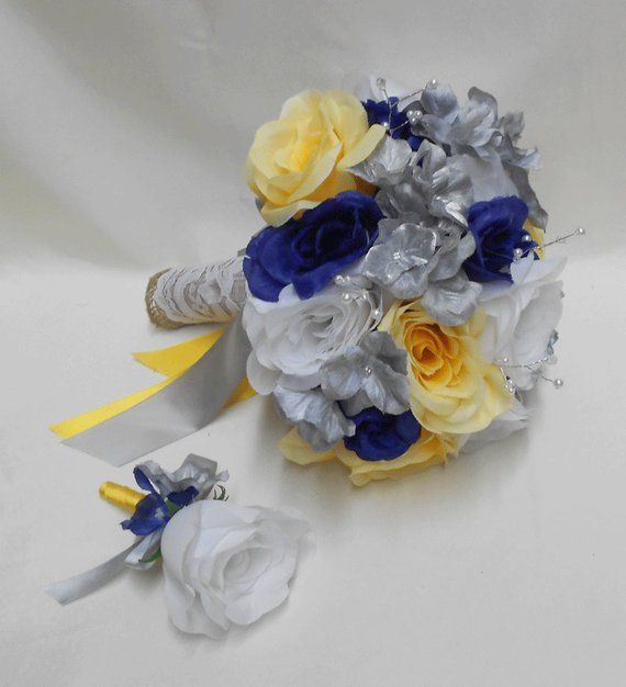 Wedding Navy Blue Yellow Grey Silver Bridal Bouquet Silk Flowers