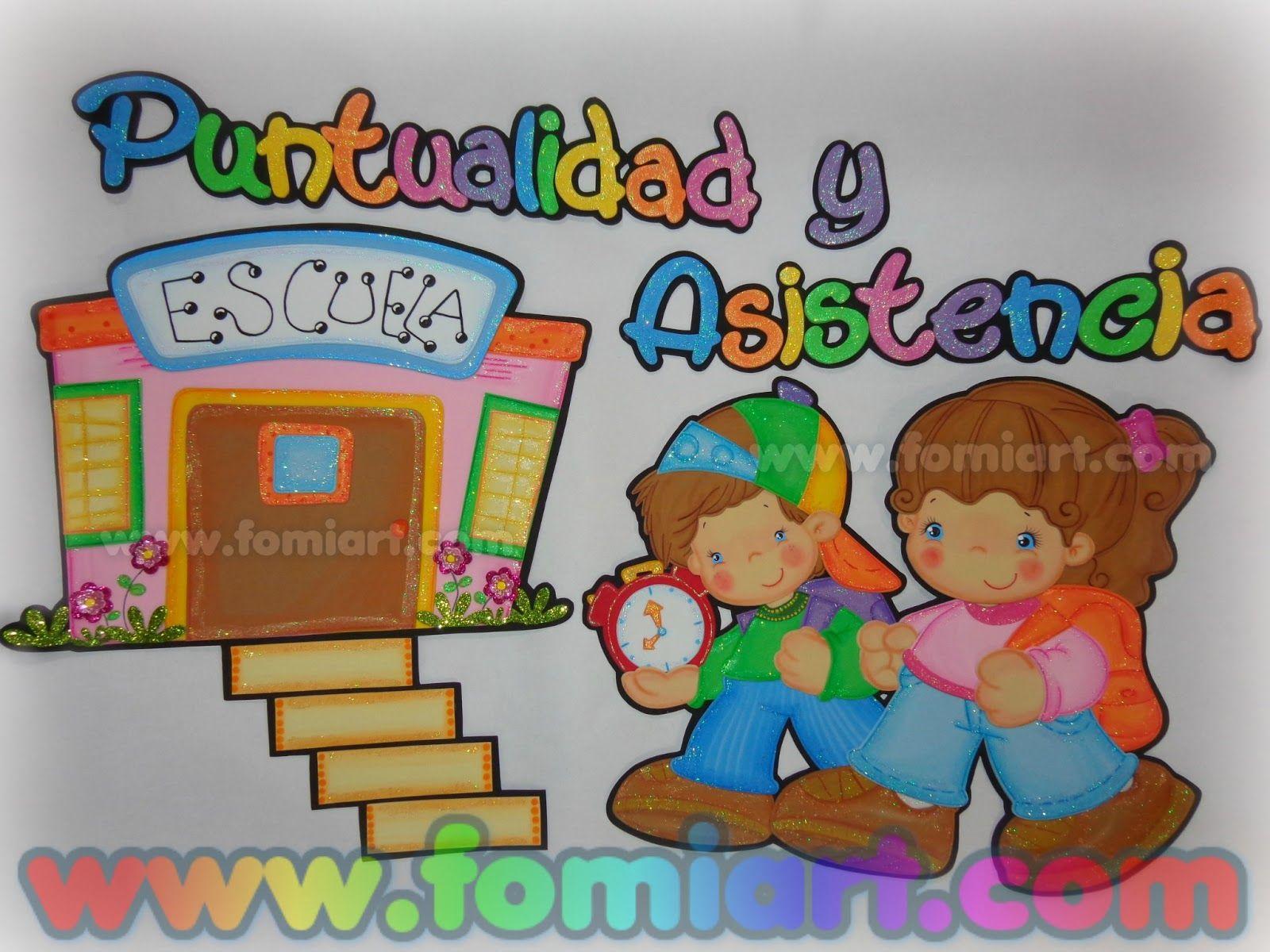 Fomiart Puntualidad Y Asistencia Fomiart Murales Escolares Manualidades Educativas Aula De Ninos