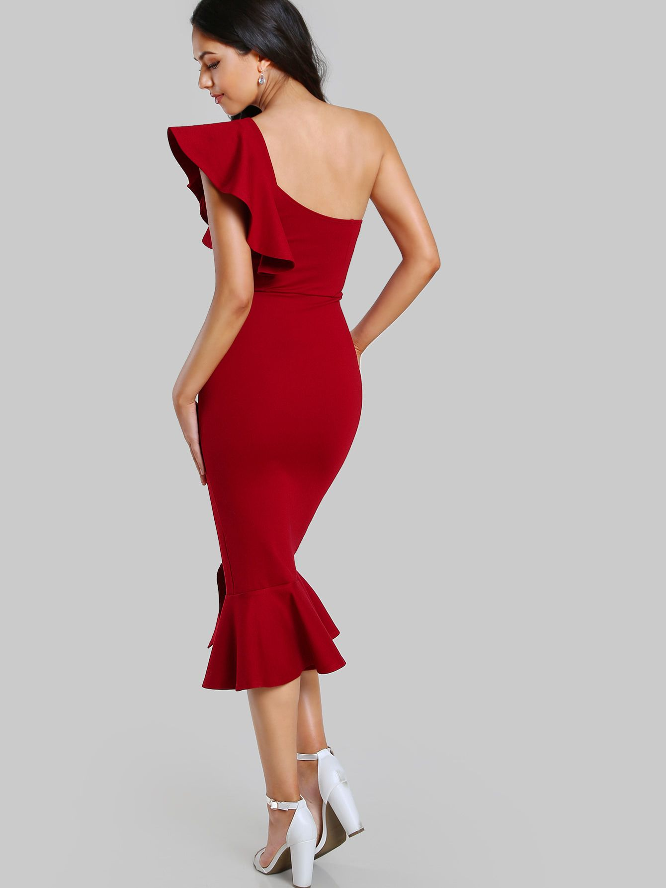 e20282080520 Shop Flounce One Shoulder Slit Fishtail Dress online. SheIn offers Flounce  One Shoulder Slit Fishtail Dress & more to fit your fashionable needs.