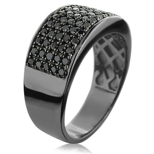 designer 10k gold black diamond wedding band for men 167ct