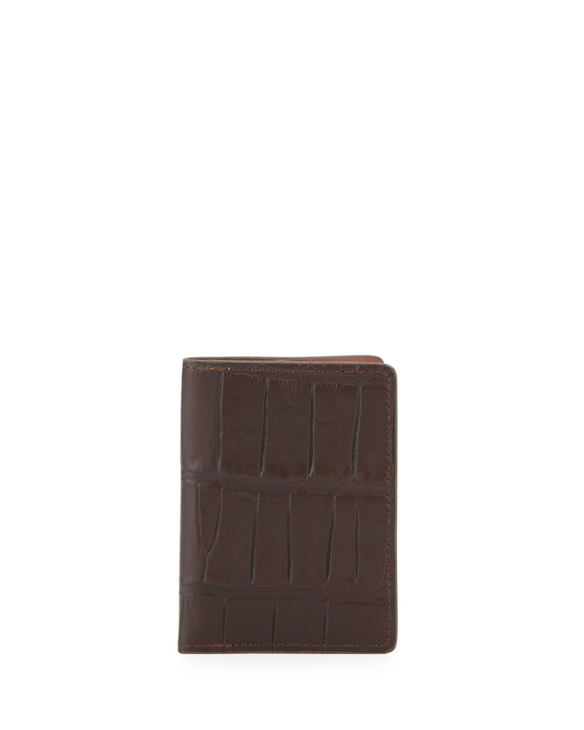 Will Leather Goods Tobias Croc-Embossed Card Case, Brown, Men\'s ...