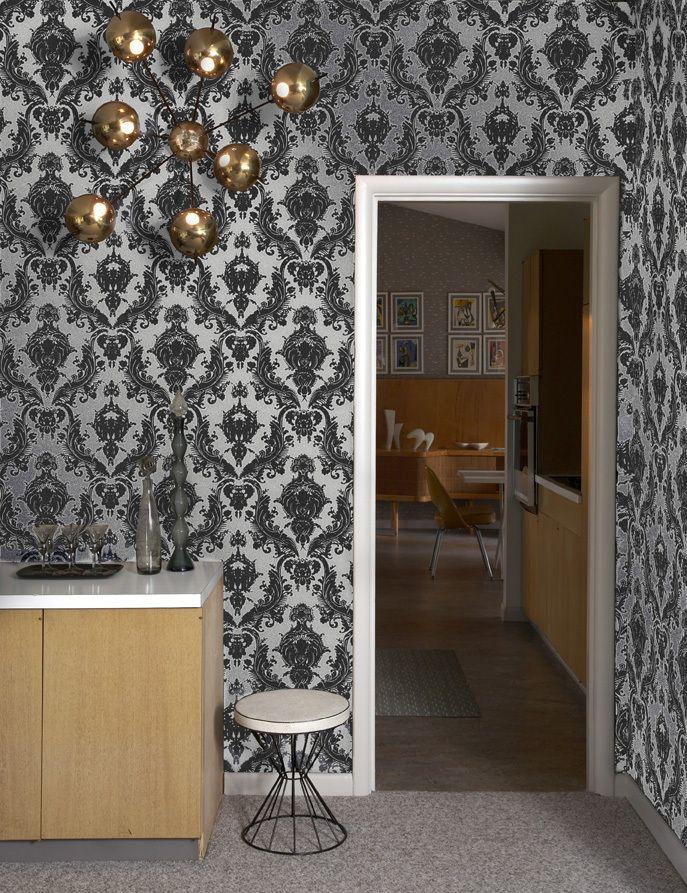 Tempaper Damsel Temporary Wallpaper In Metallic Silver Allmodern