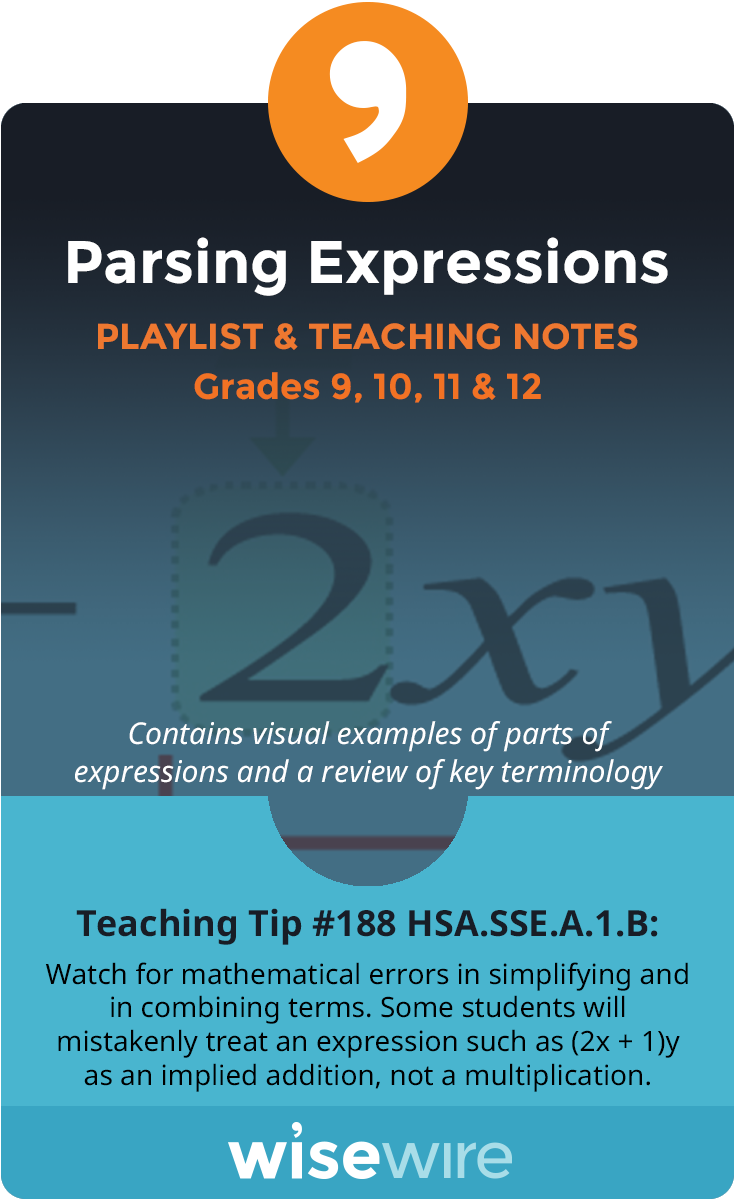 In this playlist, students explore standard HSA.SSE.A.1.b. They will parse an expression into its different factors, depending on its variables. St…