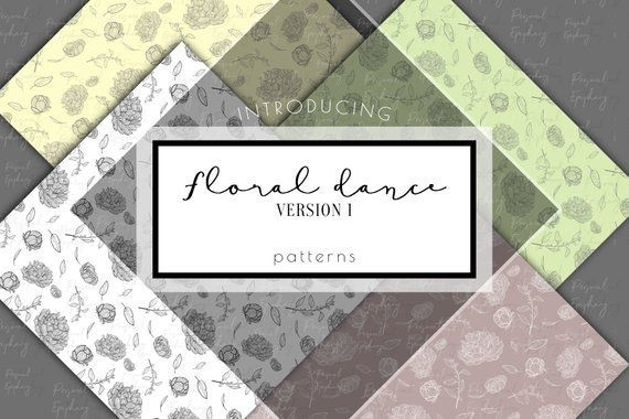 Photo of digital papers, floral scrapbook papers, digital paper pack, flower invitation jpg, planner sticker clipart, floral collage, gift wedding