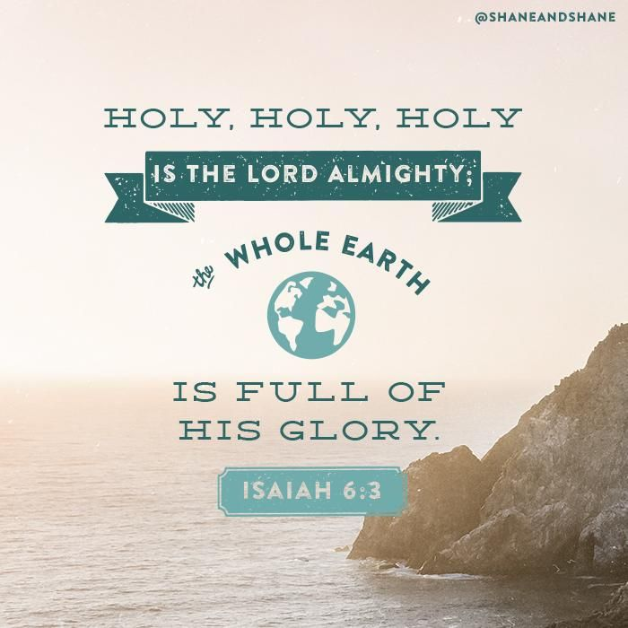 Holy, holy, hold is the LORD Almighty; the whole earth is full of His glory. Isaiah 6:3