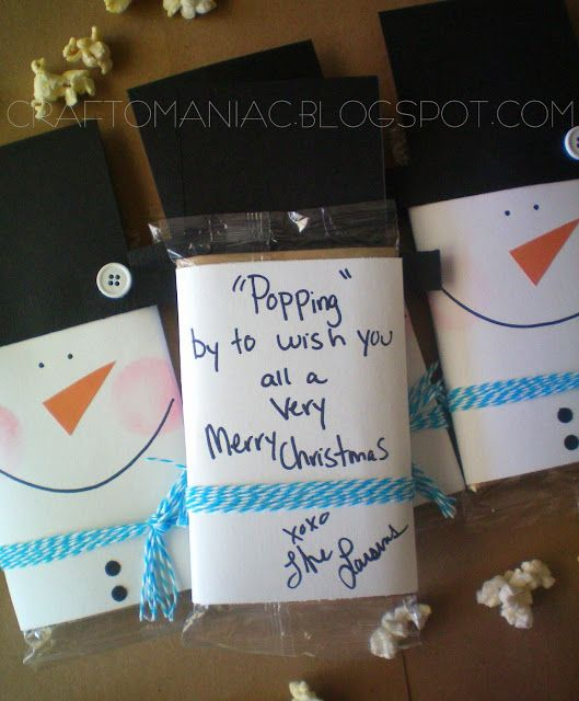 snowman popcorn gift - Snowman Gift Winter Crafts Pinterest Diy Christmas Gifts