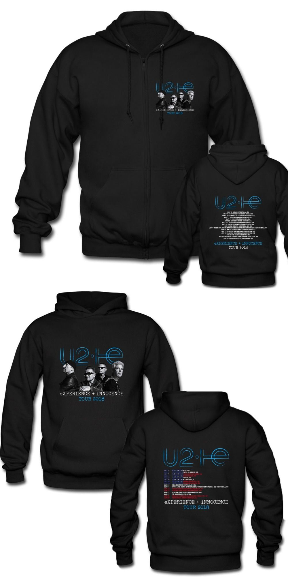 U2 eXperience + Innocence Rock Band 2018 Tour Date Black Fashion Zipper  Hooded Punk Rock Hoodies Men Women Pullover Coat d07a123331f