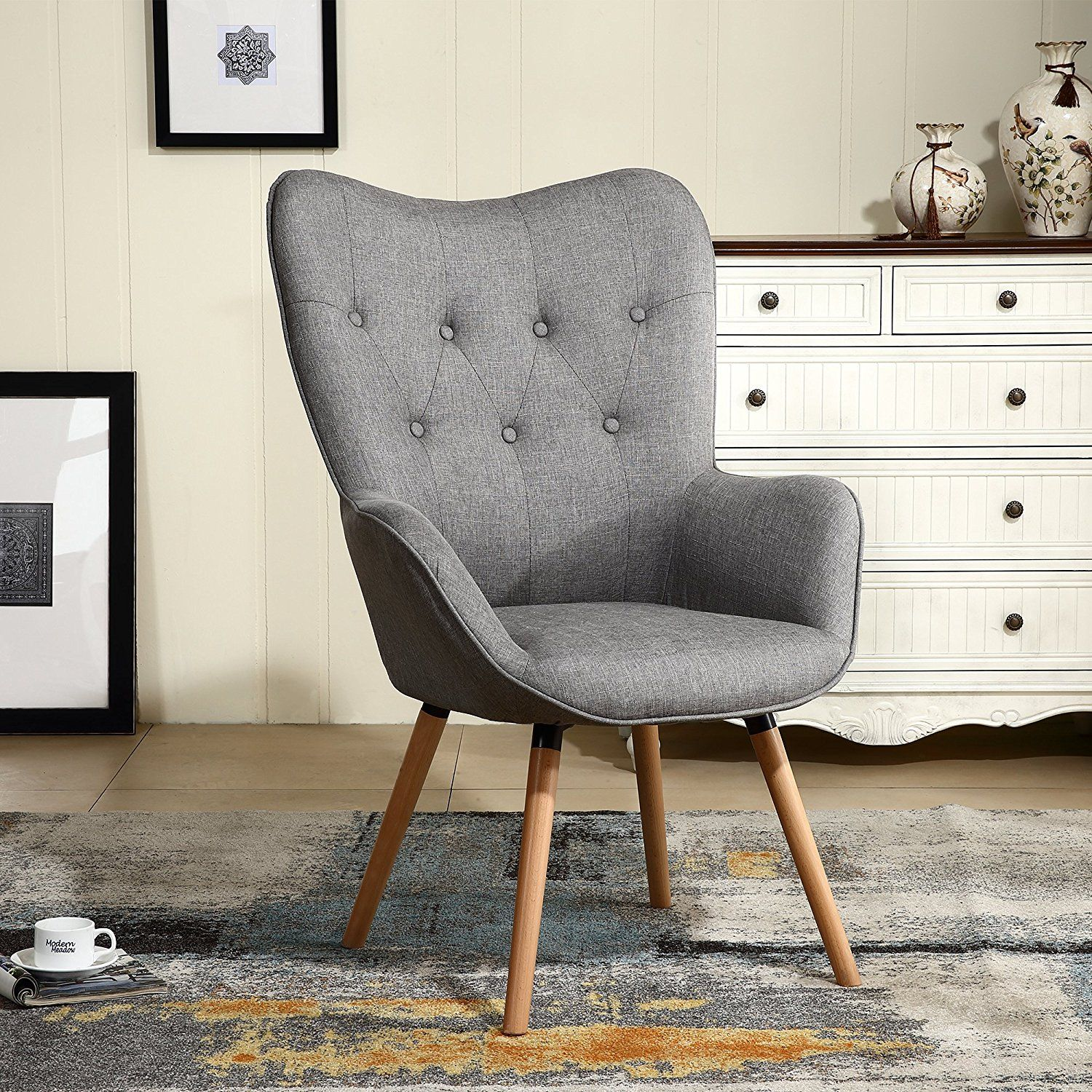 Amazon Com Lssbought Stylish Fabric Accent Chair Modern Muted