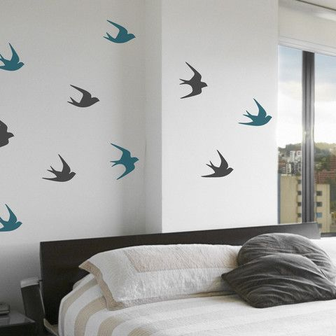 Sparrows wall decals wall decals walls and blue rooms sparrow wall decal on wall behind bed thecheapjerseys Gallery