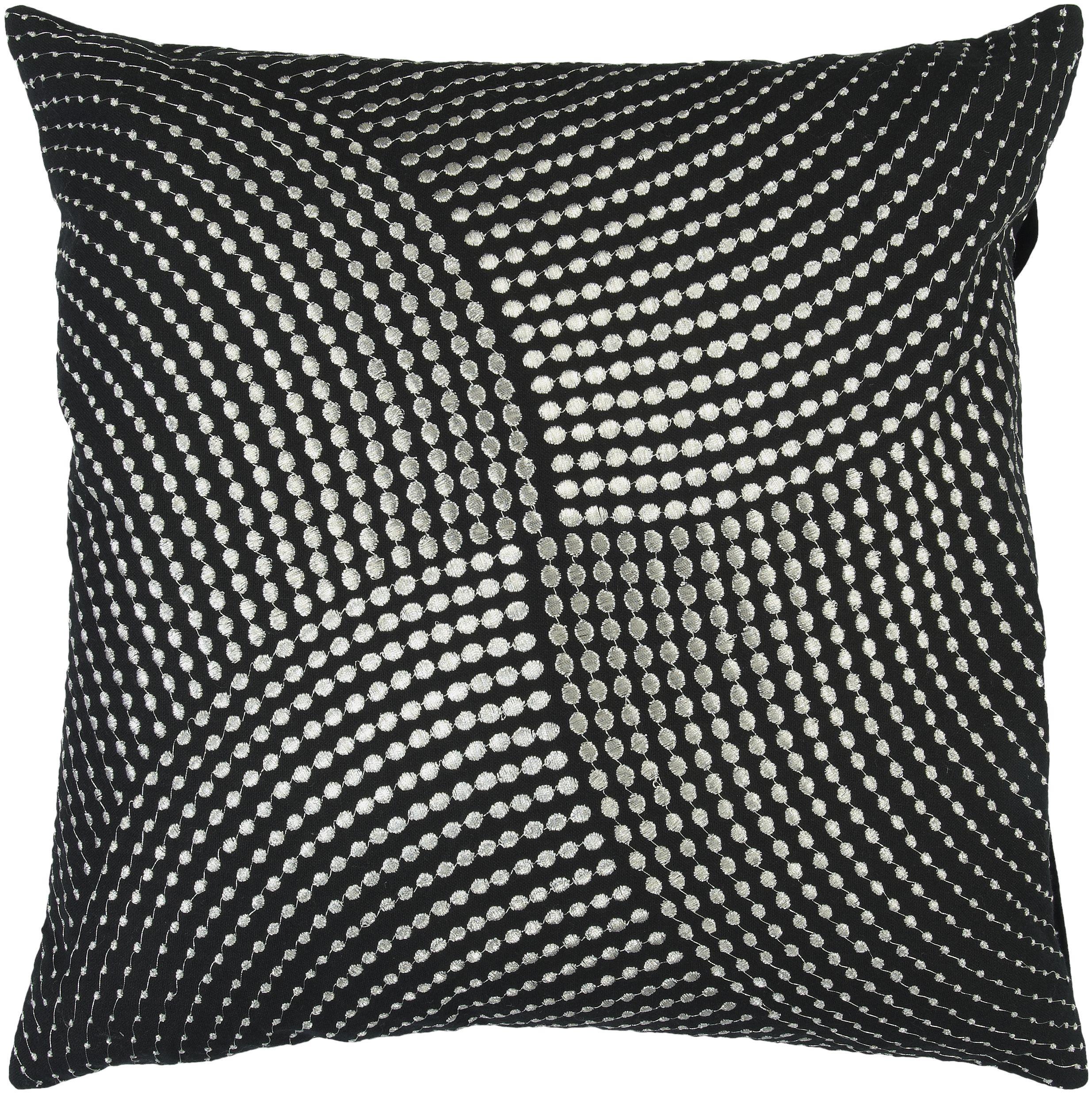 Midnight Black Gray Poly Cotton Throw Pillow