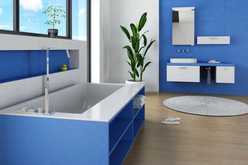 Badezimmer in Blau Waschtischunterschrank hängend | Bad ... | {Waschtischunterschrank hängend 59}