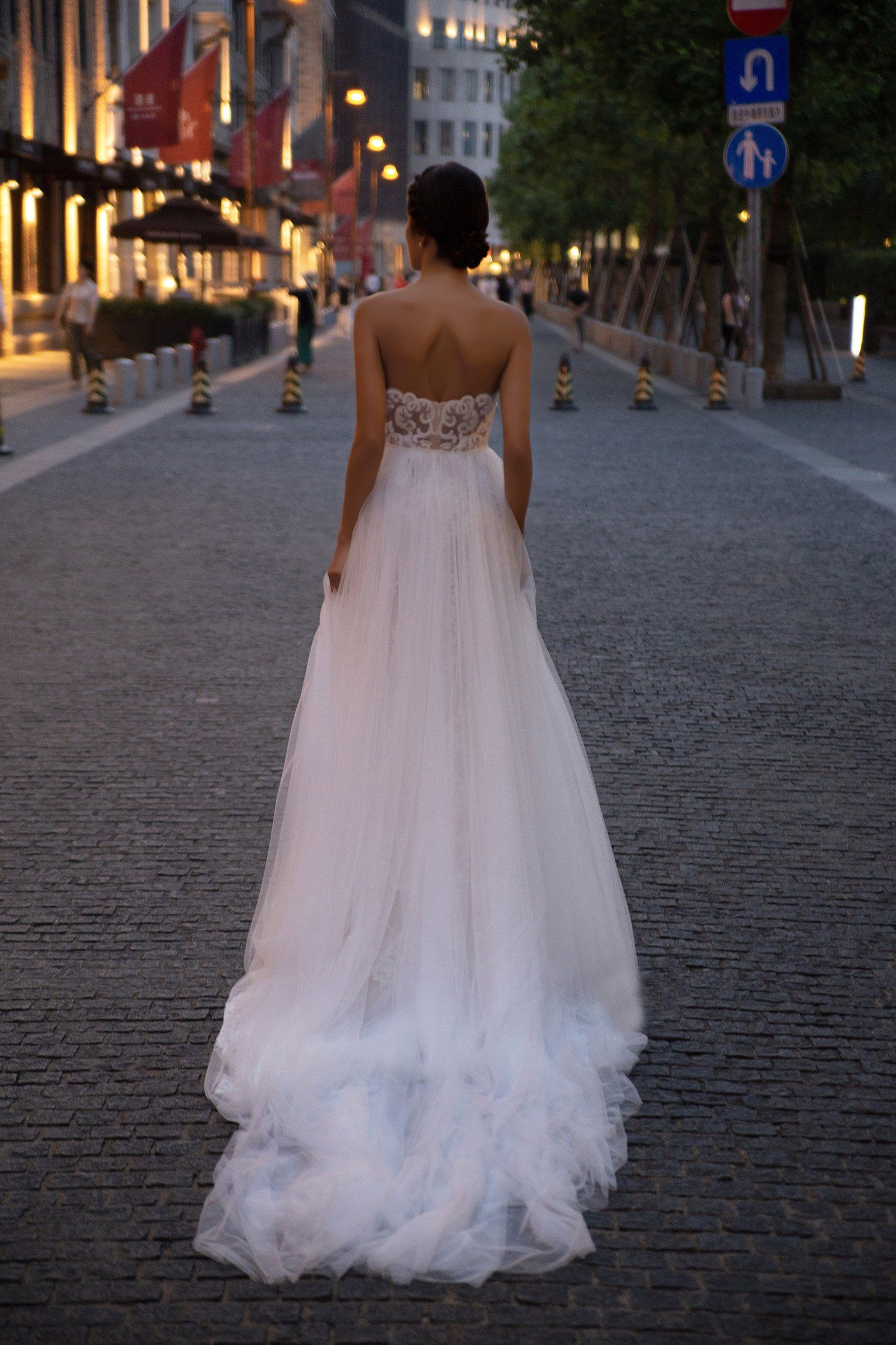 Lace mermaid wedding dress beautiful back and a stunning train