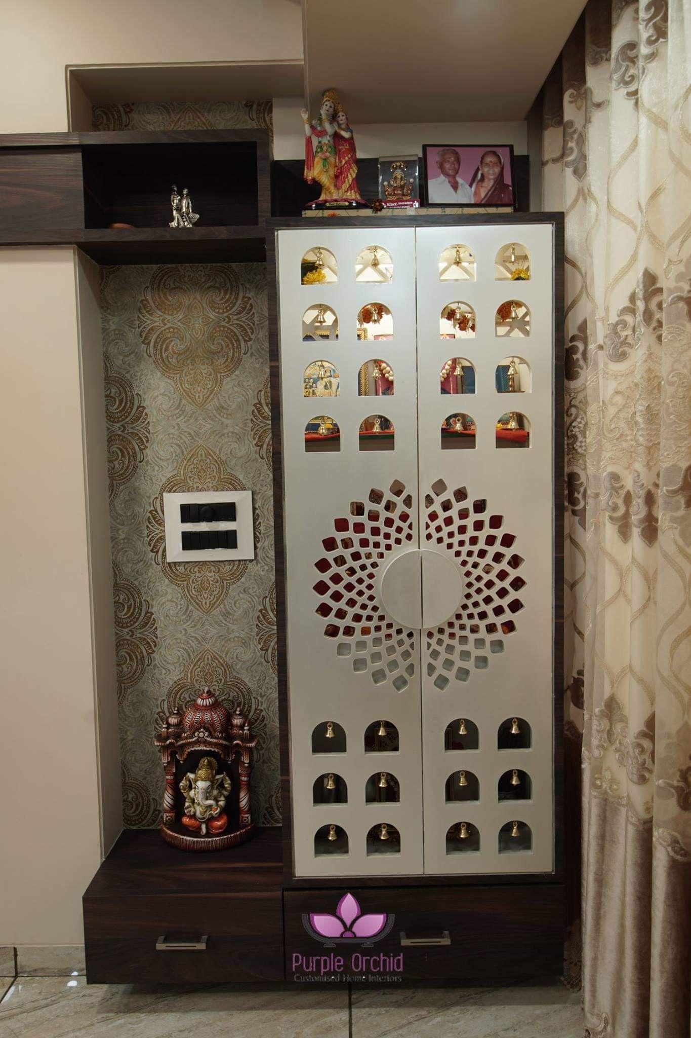Pooja Room Door Designs With Bells: #Mandir It's A Beautiful Design White Colour Door And CNC