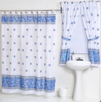 Windsor Slate Blue Fabric Shower Curtain W Available Window