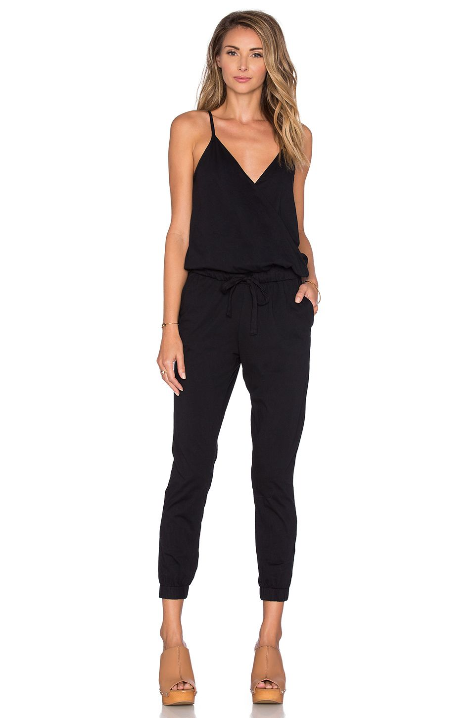8f2f7a213221 Bobi Supreme Jersey Surplice Jumpsuit in Black