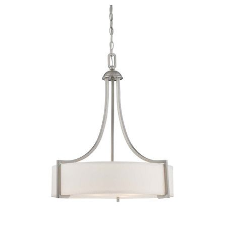 Featuring A Satin Nickel Finish And White Glass Shade This Chic