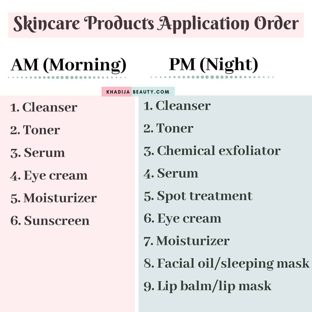 Skincare Products Skincare Order Of Application Skincare Order
