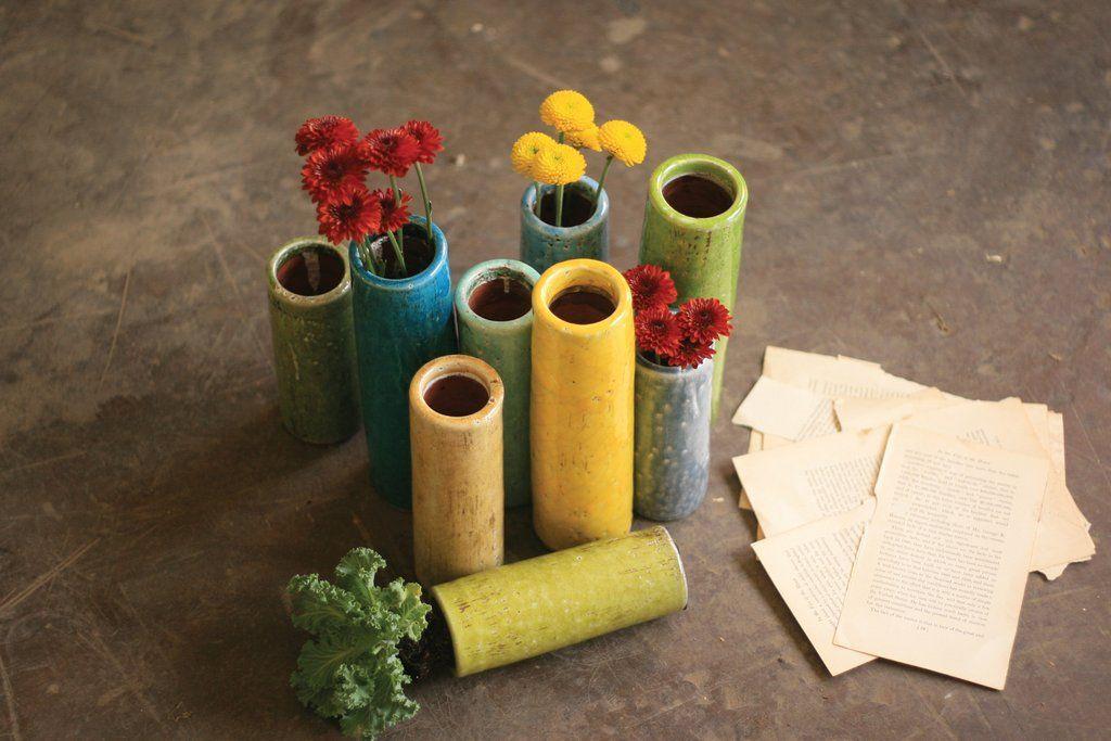 Kalalou Multicolored Ceramic Bud Vases - Set Of 9