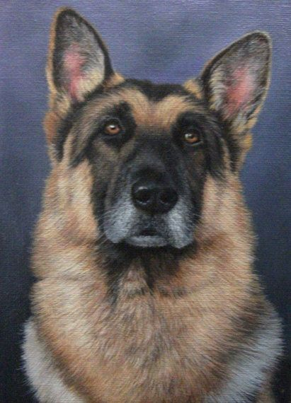 Original Acrylic Painting German Shepherd Dog Dog Art Dog Paintings Old Dogs